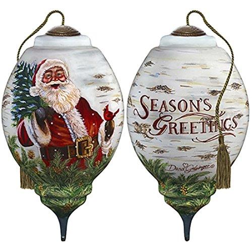 Ne'Qwa Art Hand Painted Blown Glass Winter Birch Santa Ornament, Claus ()