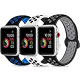 DOBSTFY Sport Band Compatible for iWatch Band 38 40 42 44mm,Soft Silicone Sports Band Replacement Wristband Strap Compatible for iWatch Series 4/3/2/1, Men/Women, 38 40mm M/L, 3 Pack