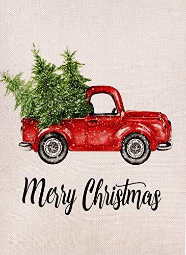 Dyrenson Decorative Merry Christmas Garden Flag Vintage Tree, Home Xmas Quote House Yard Flag with Red Truck, Rustic Winter Garden Yard Decorations, New Year Seasonal Outdoor Flag 12 x 18 Holiday (Yard Small Christmas Flags)