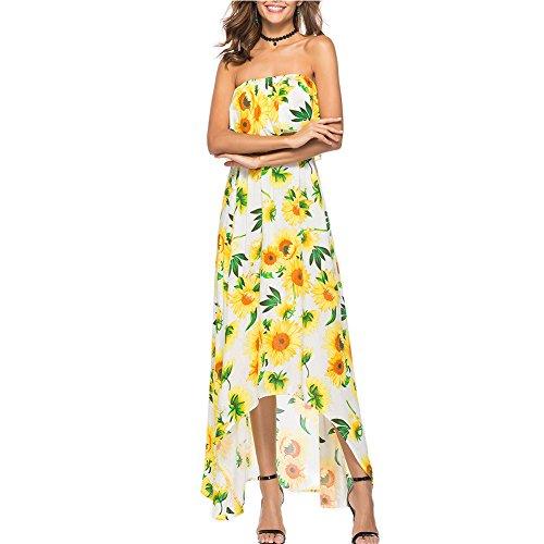 Maxi Mujeres Volante Casual para Estampado Amarillo Boho de Vestido Envuelto Floral Verano GAESHOW RYqHPt