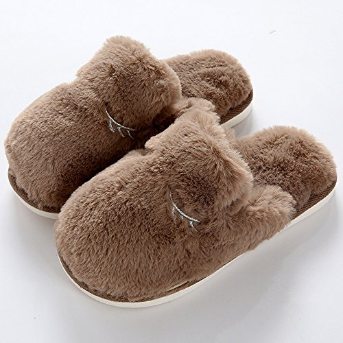 Eastlion Women's and Women's Indoor Winter Keep Warm Anti-skid Fleece Fur Slippers House Slippers Brown lws0JUPeH