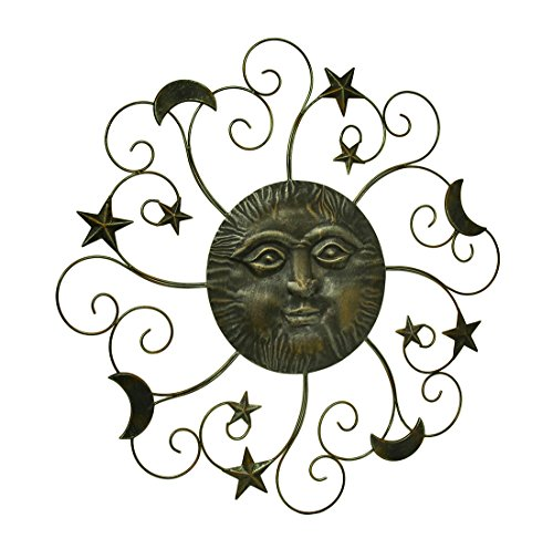 Zeckos Metal Decorative Plaques 31 Inch Diameter Metal Sun and Moon Celestial Wall Hanging 31 X 31 X 1.5 Inches (Moon Face Wall Sculpture)