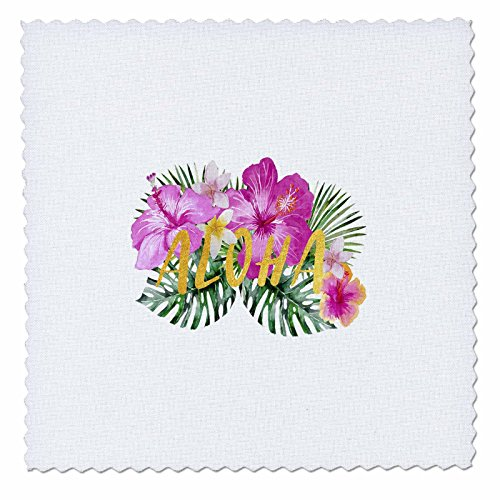 3dRose Uta Naumann Sayings and Typography - Aloha-Saying with Hawaiian Colorful Summer Hibiscus Flowers-Gold - 22x22 inch quilt square (Gold Hawaiian Quilt)