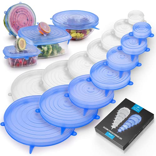 Ionix Kitchen Accessories Items, Kitchen Accessories Items for Home, Kitchen Accessories Items Box, Microwave Safe Silicone Stretch Lids reuseable, Round, Square Bowls, Dishes, Plates, Cans, Jars