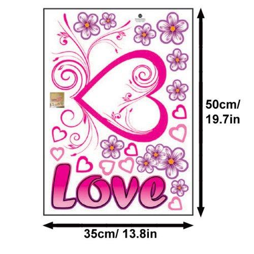 1 X Pink Love Heart Purple Flowers Wall Sticker Decal