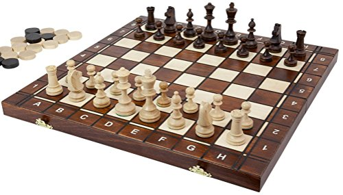 European Chess, Checkers and Backgammon Set Folding 3-in-1 Game, 16