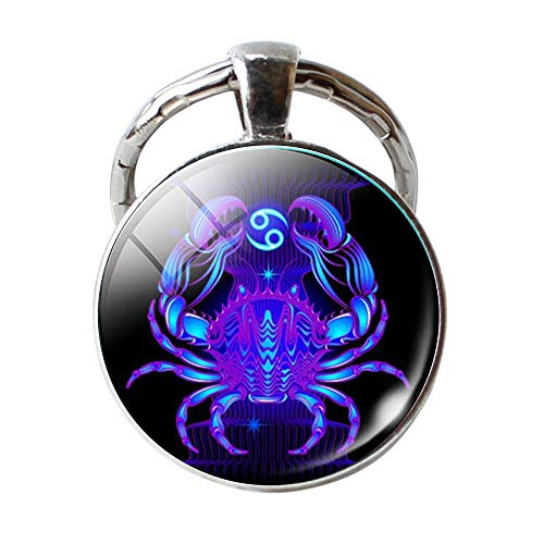 ( Orcbee  _Keychain 12 Constellation Zodiac Sign Pendant Double Face Keyring Key Holder (C))