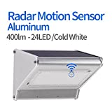 Solar Lights Outdoor Motion Sensor 24 LED Aluminum Alloy Wireless Waterproof 4 in 1 Mode Security Led Lighting for Barn Garage Pathway. (24LED/Cold White)