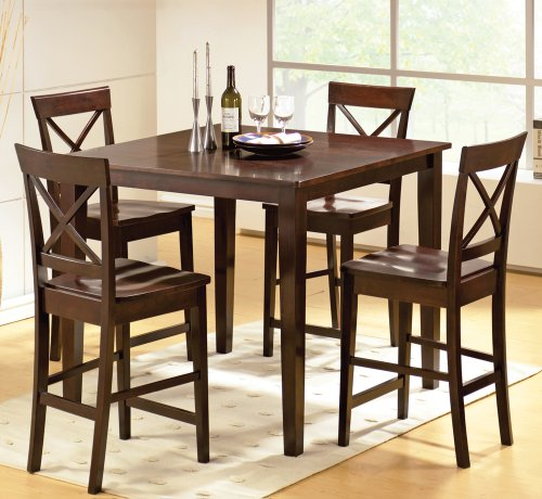 Steve Silver Cobalt 5 Piece Counter Height Table Set in Espresso [Set of 5]