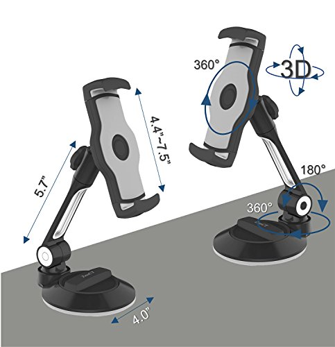 ZenCT iPad Holder, Suction Cup Tablet Stand Cell Phone Holder with Strong Metal Arm, for Tablets iPhones iPad Pro 4-11 inch (Black) by ZenCT (Image #2)