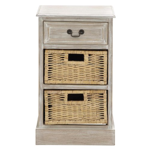 Urban Designs Imported Weathered 3-Drawer Storage Chest Night Stand with Wicker Baskets, White (Night Bedroom Wicker Stands)