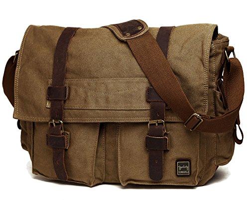Berchirly Vintage Military Canvas Messenger Laptop Bag