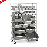 Big Metal Shelf Convinient Work Surface Organizing Stuff GarageStorage Workshop Heavy-Duty Module Ergonomic Space Saver 22 Bin Rack Rolling Storage Commercial Wire Shelves & eBook by BADA shop