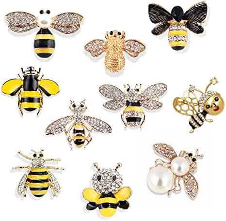 22607b5fba2 Apol Set of 10 Fashion Enamel Crystal Rhinestones Bee Themed Brooch Pin  Jewelry Lapel Pins for