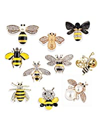 Apol Set of 10 Fashion Enamel Crystal Rhinestones Bee Themed Brooch Pin Jewelry Lapel Pins for Clothes Collar Dress Scarf