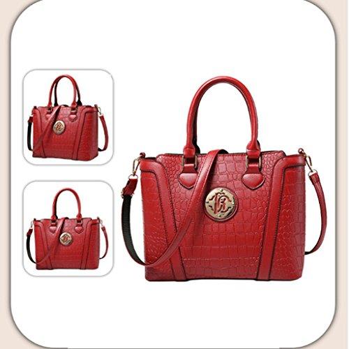 Handbag Los Bolsos de Las Nuevas Mujeres, Europa y los Estados Unidos Forman el Bolso de Hombro, Bolsos del Patrón del cocodrilo, Bolso del Mensajero, Bolsos de Mediana Edad. A+ (Color : Red) Red
