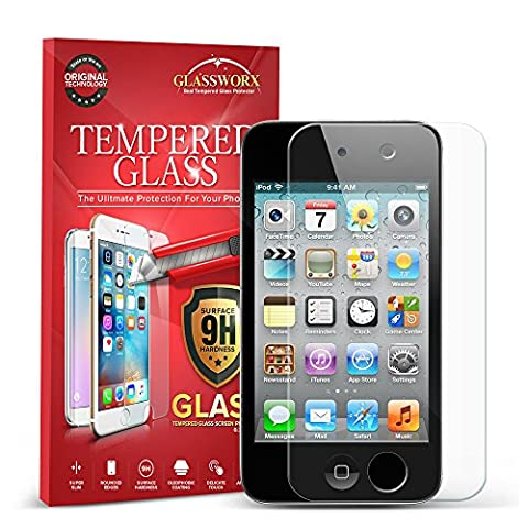iPod Touch 4th Generation Screen Protector, GlassWorx Tempered Glass Screen Protector Film for Apple iPod Touch 4th (Ipod 4 Screen Glass)