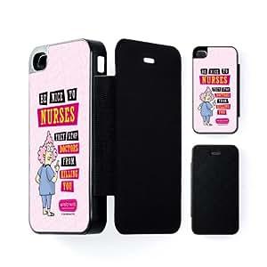 Nurses Carcasa Protectora Snap-On Negra en Formato Duro para Apple® iPhone 4 / 4s de Aunty Acid + Se incluye un protector de pantalla transparente GRATIS