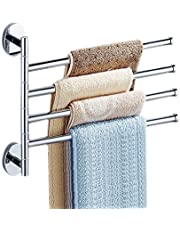 OHIYO Swivel Towel Bar 4-Arm Bathroom Towel Holder Wall-Mounted Swing Out Towel Rack Rustproof Aluminum Space-Saving Folding Towel Rack Towel Organizer for Bathroom, Kitchen, Home, Hotel Silver