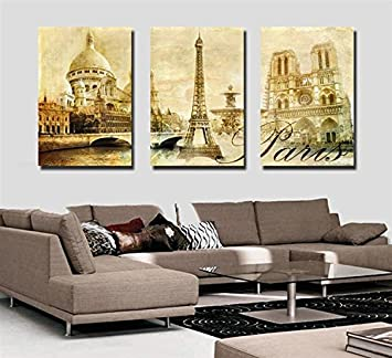 Spirit Up Art Large Paris Eiffel Tower, Picture Painting on Canvas Print without Framed, Modern Home Decorations Wall Art set of 3 Each is 40*60cm #D01-208