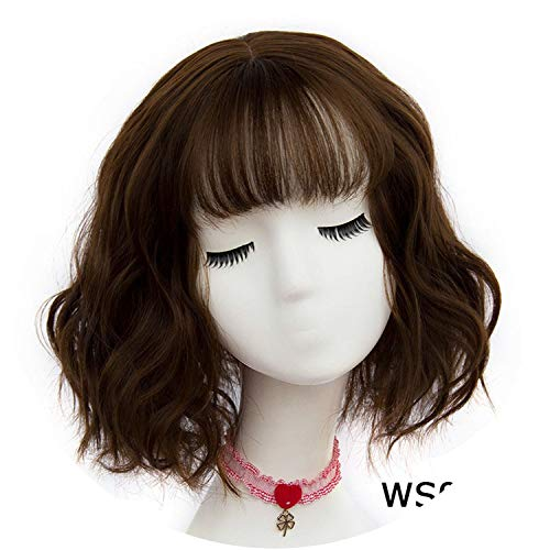 be-my-guest 43 colors Synthetic Short Wavy BOB Wigs Womens Brown Black Blonde Natural Hair Wigs Female Heat Resistant Fiber,AS 05 F6,14inches ()