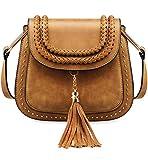 Tom Clovers Womens Vintage Tassel Saddle Shoulder Bag Crossbody Bag Sling Bag Shopping Travel Satchel Brown