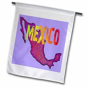 Florene Mexico - Painted Map Of Colorful Mexico With Word Mexico - 12 x 18 inch Garden Flag (fl_62179_1)