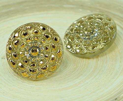 1pc Crystal Gold Flower Handmade Czech Glass Button Size 8, 18mm