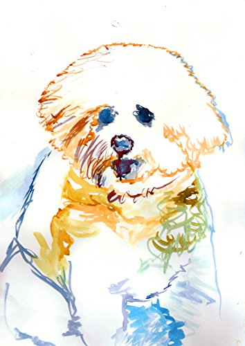 Bichon Frise Gifts, Abstract Bichon Frise Painting Art Print, Bichon Frise Owner Gift, Bichon Frise Watercolour, Bichon Frise Painting Print, Choice of size Hand Signed by Oscar Jetson
