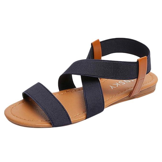 7a84dd7aadef8 ZODOF Sandalias Mujeres Verano Moda Bohemia Plano Peep-Toe Zapatos Casuales  Zapatos De Playa Sandalias Romanas Sandalias  Amazon.es  Ropa y accesorios