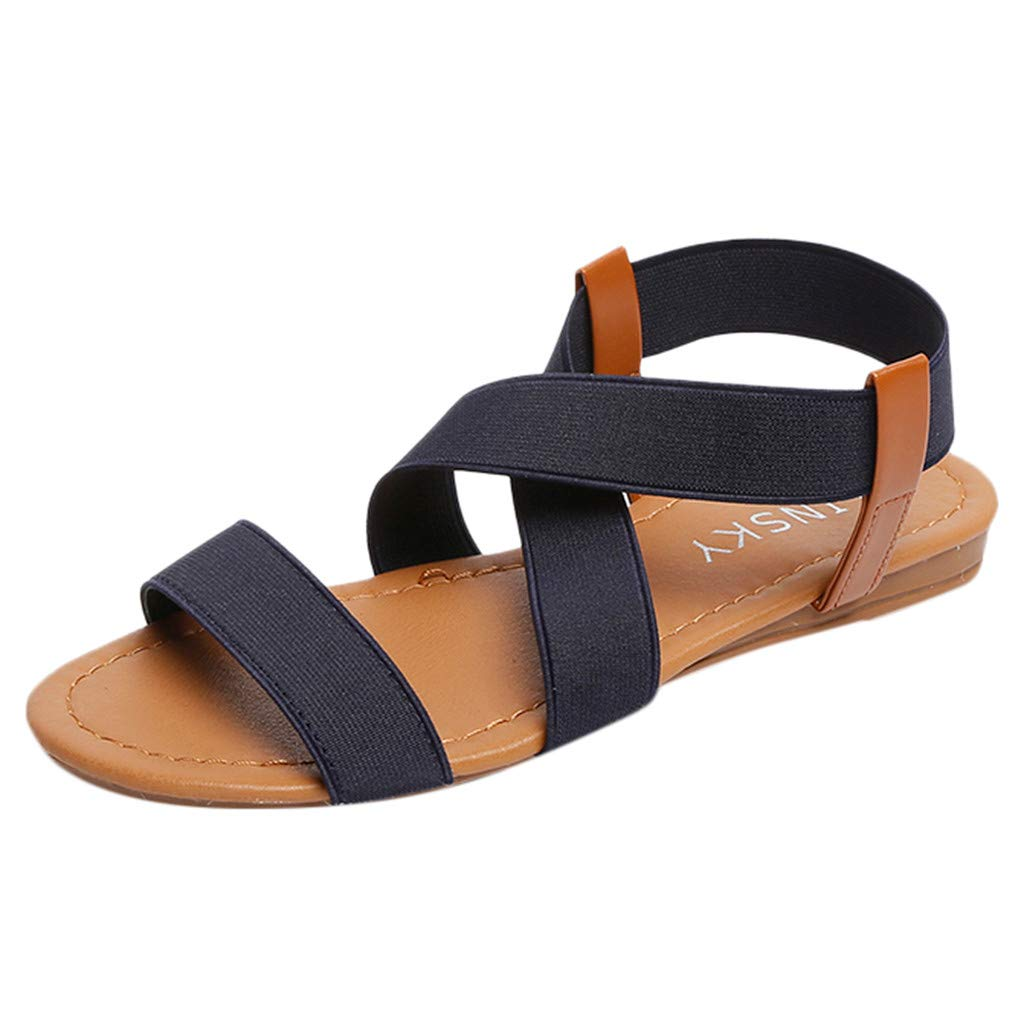 Women Low Heel Anti Skidding Beach Shoes Cross Strap Sandals Peep-Toe Sandals Blue