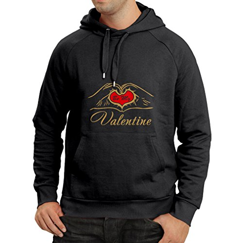 Hoodie Be my Valentine love , great St. Valentine gift (X-Large Black Gold) (Hello Sexy In Spanish)