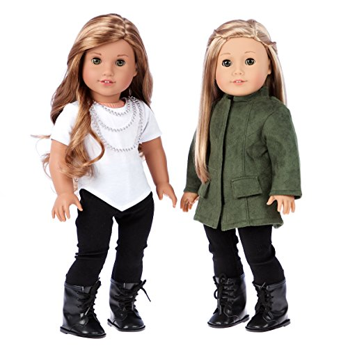 DreamWorld Collections - Autumn Stroll - 4 Piece Outfit for 18 Inch American Girl Doll - Green Coat, White Blouse, Black Velvet Leggings, Black Boots (Bolls Not Included)