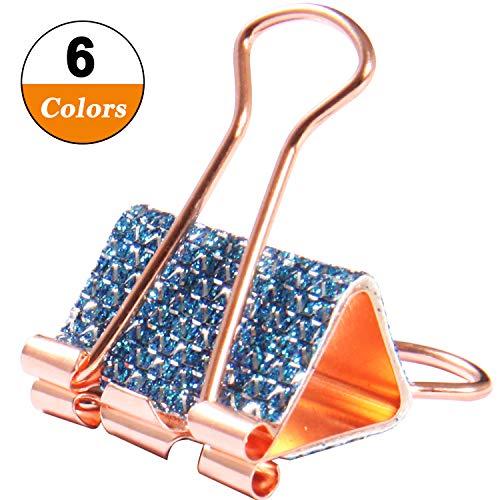 - Rose Gold Metallic Plaid Glitter DIY Binder Clips, Blinking Confetti Handmade Leather Elliot Folder, Novelty Decorated Ligne Clips