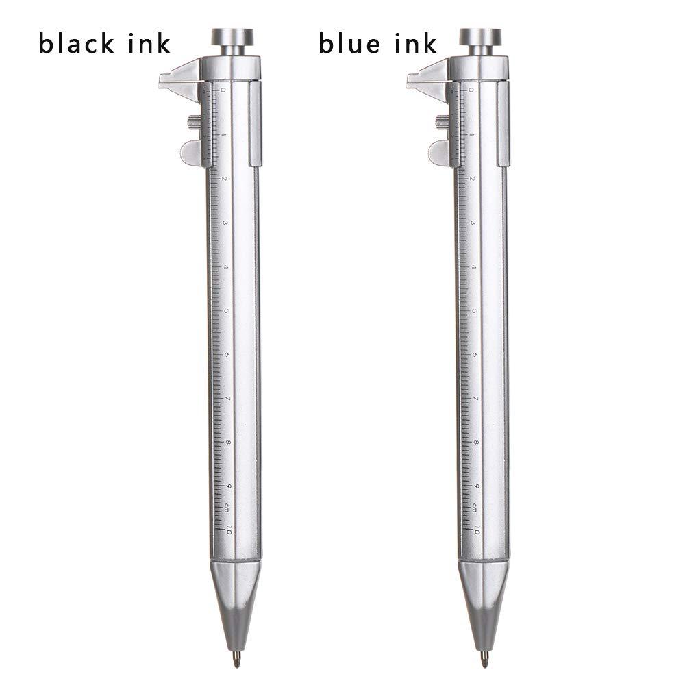 Neaverler Cancelleria Rotante Multifunzionale Penna a Sfera Strumento Scrittura Scala Righello Vernier Calibro Penna blue ink