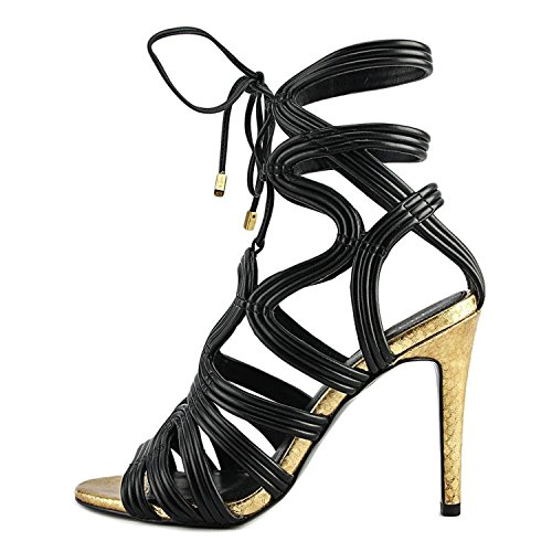 BCBGeneration Womens Jax Open Toe Special Occasion Strappy, Carbone, Size 7.0