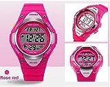 Outdoor Sports Children Watch Waterproof Wrist Watch Kids Silicone ,LED Digital Alarm for Girls Boys Watch Rosered