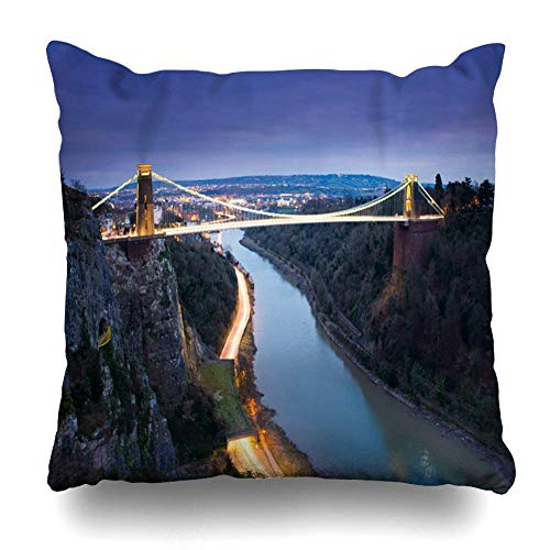 New England Halloween Storm (NBTJZT Clifton England Suspension Bridge Bristol UK Storm Parks Brunel Famous Night Avon Design Threat Home Decor Pillow Case Square Size 18x18 Inches Zippered)