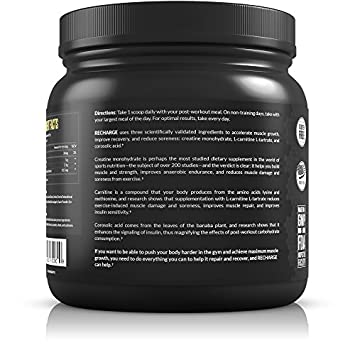 Legion Recharge Post Workout Supplement – All Natural Muscle Builder Recovery Drink With Creatine Monohydrate. Naturally Sweetened Flavored, Safe Healthy. Fruit Punch, 60 Servings