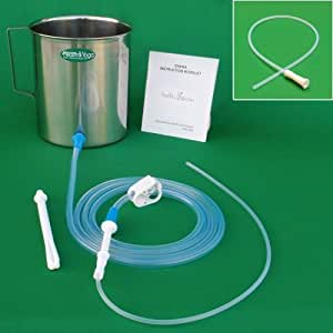 HealthAndYoga(TM) Stainless Steel Enema Kit with PVC Tubing: 2 Quart Container. No Latex