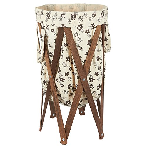 Laundry Basket Foldable Hamper Clothes Bin - Wooden Decorative Collapsible Storage Organizer for Laundry, Household Items, Toys - 27.25 x 13.25 inches