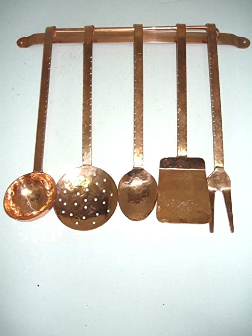 Juego de cubiertos de cocina para horno, diseño de cobre con soporte 5 piezas de