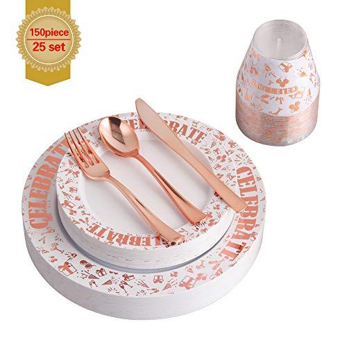 (150pcs Confetti Celebrate Rose Gold Plastic Tableware Set- 25 Dinner Plates, 25 Salad or Dessert Plates & 25 Polished Silver Forks Knives & Spoons & 9oz cups)