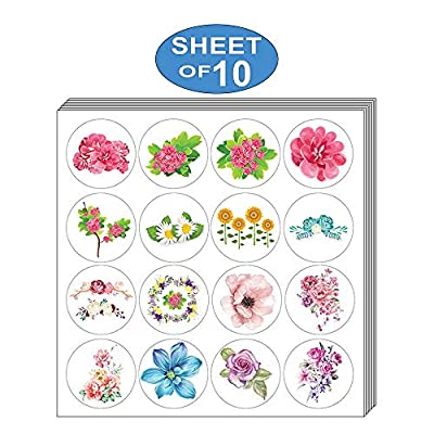 Creanoso Flower Stickers (10-Sheet) – Elegant Flower Wall Stickers – Assorted Bulk Note Stickers for Graduation, Thanksgiving, Wedding, Bridal Party, Birthdays, any Special Occasions – Gifts for Women: Clothing