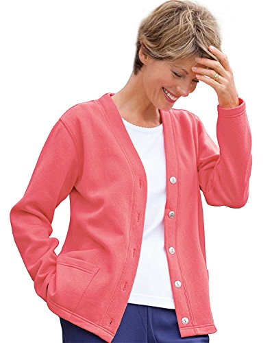 National Lightweight Fleece Cardigan, Coral, Large