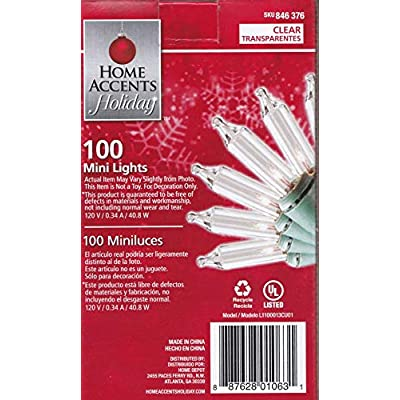 Home Accents Holiday 100 Count - Mini Lights for Tree or Home - Connect up to 5 Sets to 1 outlet! : Garden & Outdoor