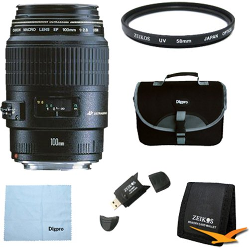 Canon EF 100mm f/2.8 Macro USM Lens for Canon SLR Cameras w/ 58mm Multicoated UV Protective Filter, Deluxe Bag, Microfiber Cleaning Cloth, Tri-fold Memory Card Wallet, USB 2.0 Card Reader