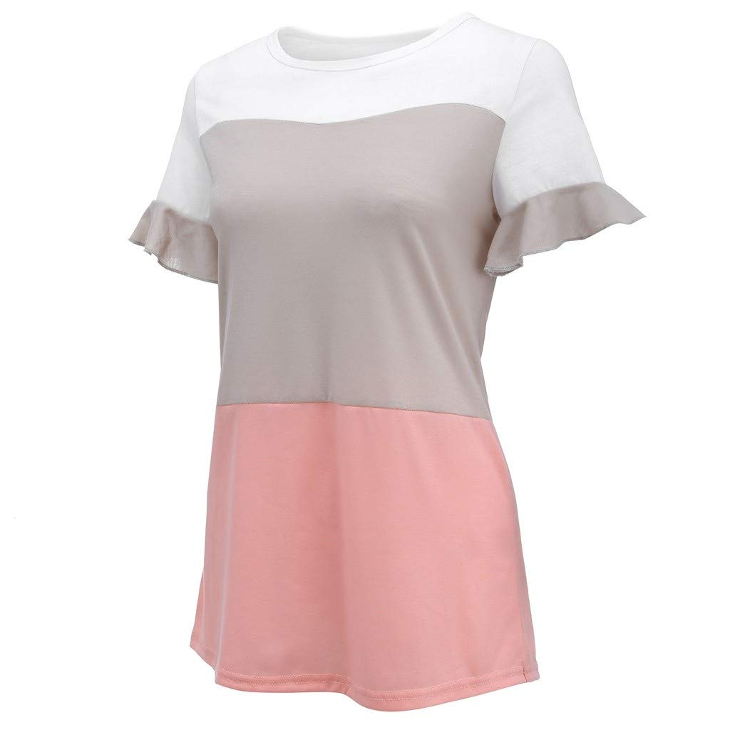 Duseedik Women's Tops Summer Patchwork T-Shirt Short Sleeve Knot O-Neck Casual Shirt Tank Tops Pullover by Duseedik (Image #7)
