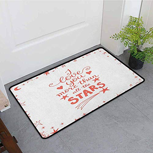 (Beihai1Sun Print Bath Mat,I Love You More Quote of Infatuation Surrounded by Stars Scribble Art for Valentines,with No-Slip Backing,24