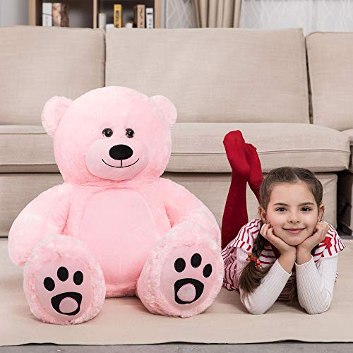 WOWMAX 3 Foot Giant Teddy Bear Daney Cuddly Stuffed Plush Animals Teddy Bear Toy Doll for Birthday Christmas Pink 36 Inches